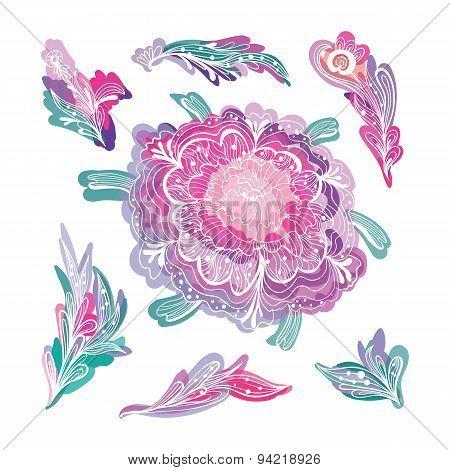 Romantic Floral Design Elements Set