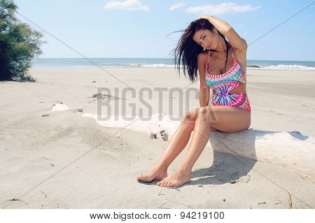 young woman on a paradise beach