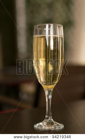 Single Champagne Glass and Drink