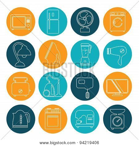 Set Of Household Appliances Contour Icons On Colorful Round Web Buttons With A Washing Machine Stove