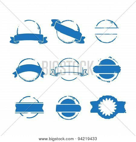 Round Blue Stamps With Ribbons Set Vector