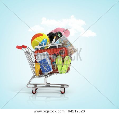 Shopping Cart With Beach Accessories. Summer Shopping. Sunbed, World Map, Beach Shoes, S