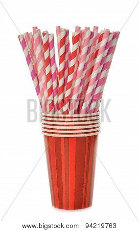 Multicolored Retro Straws In A Paper Cup