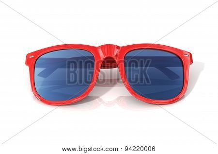 Red glasses Isolated Over The White Background.