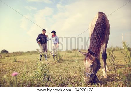 Happy Couple With Their Horse