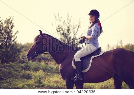 Beautiful Woman With Her Horse