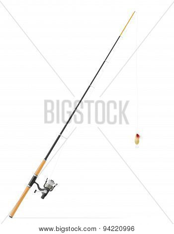 Rod Spinning For Fishing Vector Illustration