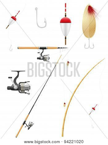 Set Icons Fishing Equipment Vector Illustration