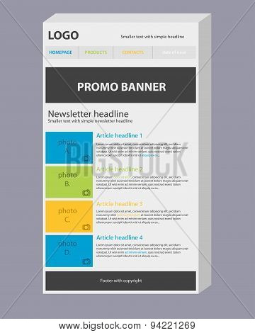 Newsletter 3D Template With Colors