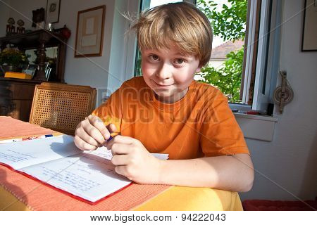 Boy Doing Homework For School At Home