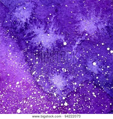 Vector Abstract Violet Watercolor Cosmic Background With White Splashes