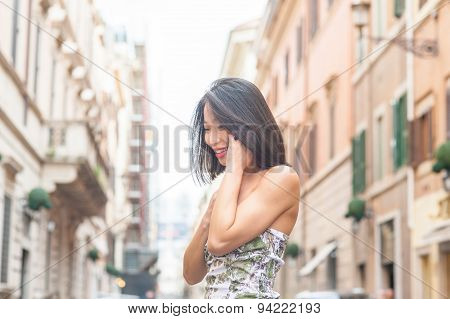 Young Beautiful Asian Woman Smiling Using Mobile Phone Spring Urban