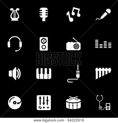 Vector white music icon set