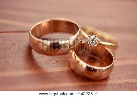 Beautiful Golden Engagement And Wedding Rings