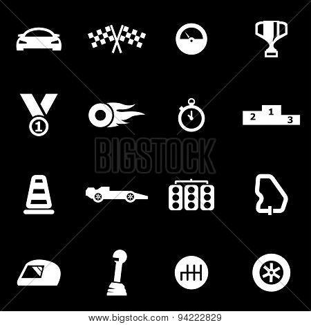 Vector white racing icon set