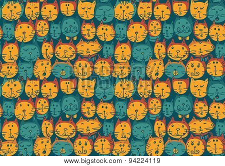 Seamless Pattern With Cat's Faces.