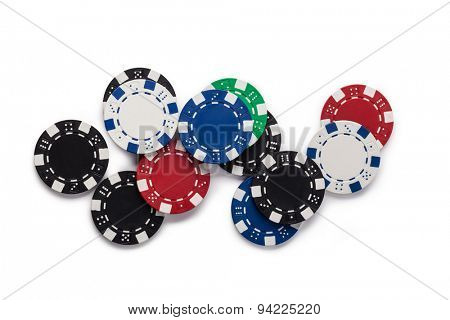 Casino chips, isolated on white background