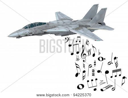 Warplane Launching Musical Notes
