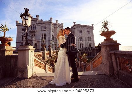 Bride And Groom At Castle