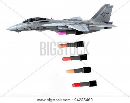 Warplane Launching Lipstick Instead Of Bombs
