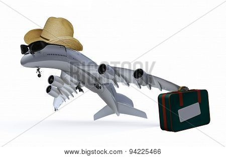 Plane With Hat, Sunglasses And Bag