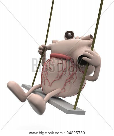 Human Heart With Arms And Legs On A Swing