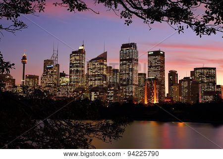 Sydney Cbd Cityscape Buildings At Sunset