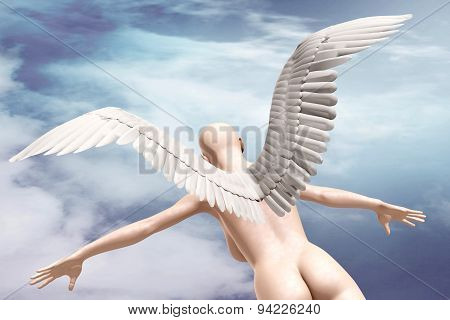 Naked Beauty Woman With Wings Fly