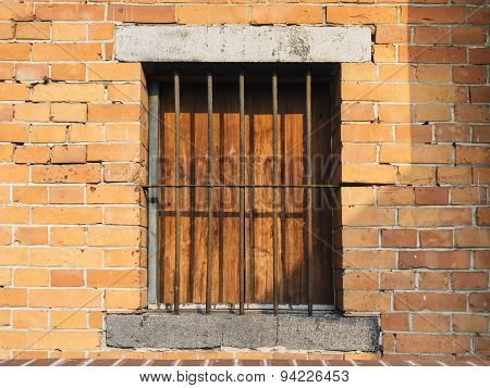 Window Frame With Brick Wall