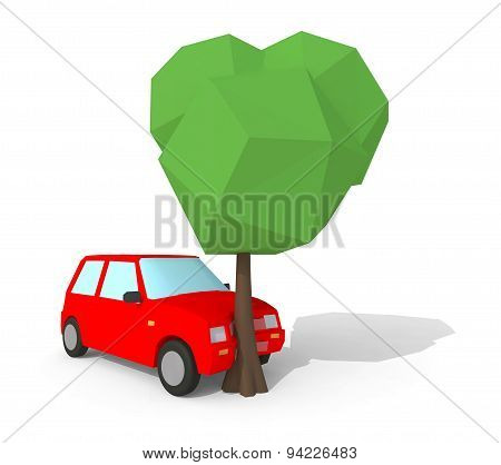 Low Poly 3D Car Crash With Tree