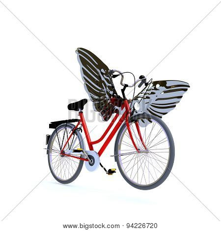 red bycicle with wings
