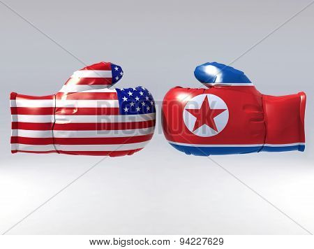Boxing Gloves With Usa And North Korea Flag