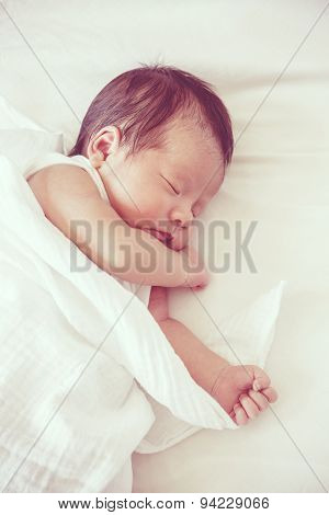 Soft Focus And Blurry Of Carefree Sleep Little Baby, Vintage Style Color Effect