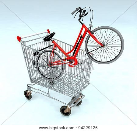 Shopping Cart With Bycicle Inside