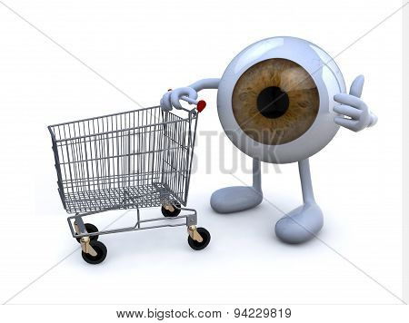 Eye With Arms And Legs And Shopping Cart,