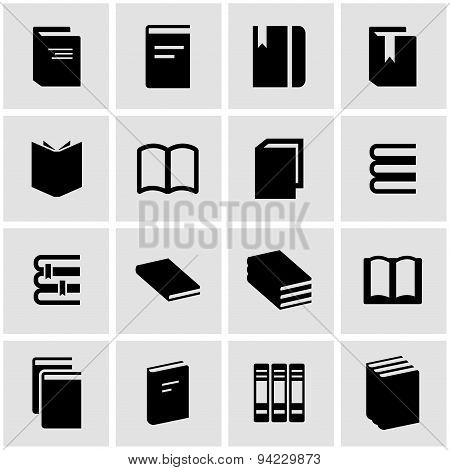 Vector black book icon set