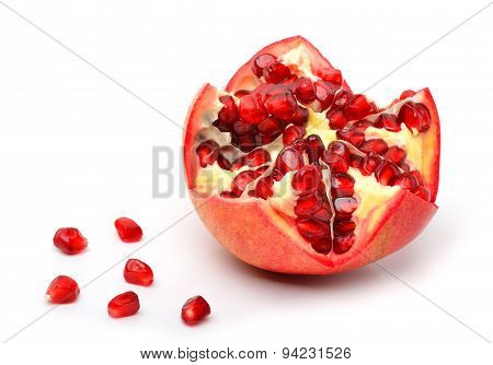 Ripe Pomegranate Fruit And Pomegranate Seeds
