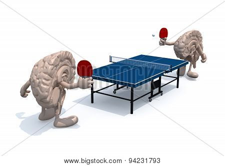 Two Half Brains With Arms And Legs That Playing To Table Tennis