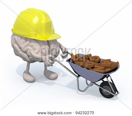Brain With Arms, Legs And Workhelmet Carries A Wheelbarrow Letters