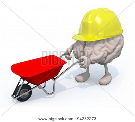 Brain With Arms, Legs And Workhelmet Carries A Wheelbarrow
