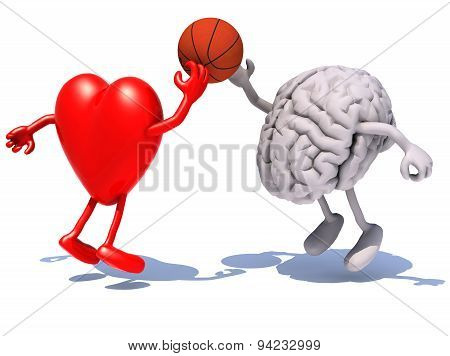 Heart And Brain With Arms And Legs Playing To A Basket Ball