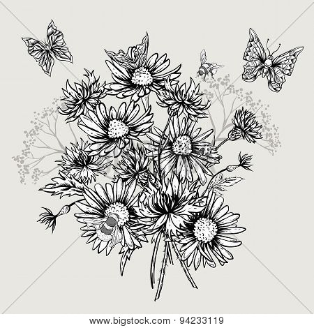 Summer Monochrome Floral Bouquet Greeting Card with Blooming Chamomile