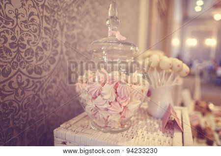 White And Pink Marshmallows In A Jar