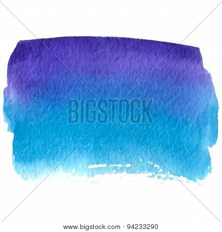 Vector Watercolor Blue And Violet Banner Isolated On White Background