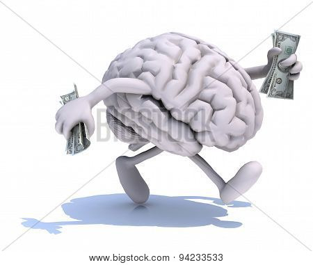 Brain With Arms And Legs Run Away With Dollar Notes On Hands