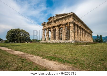 Second Temple Of Hera At Paestum Archaeological Site, One Of The Most Well-preserved Ancient Greek T