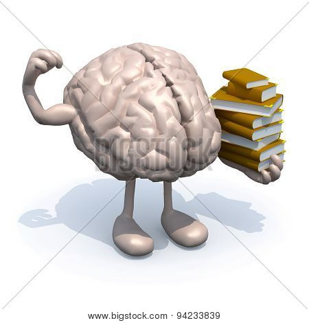 Human Brain With Arms, Legs And Many Books On Hand