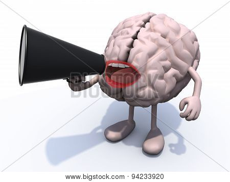 Brain With Arms, Legs, Mouth That Shout Into Loudhailer