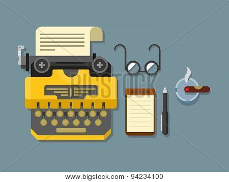 Typewriter with Sheet of Paper, Glasses, Notepad, Cigar and Pen on Surface in Flat Style.
