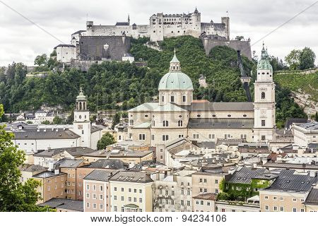 Salzburg cityscape with cathedral and fortress, Austria, Europe